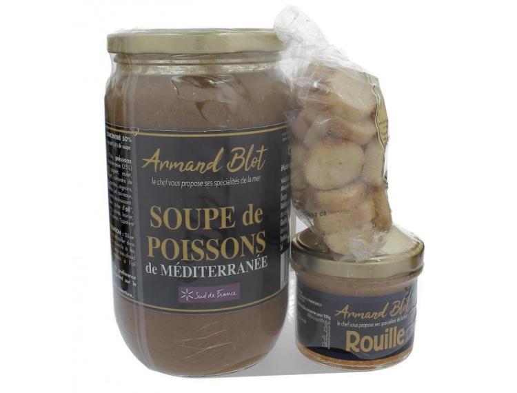 Lot soupe de poissons 760g, Rouille 90g et Croutons à l'ail