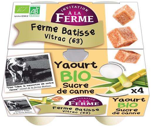 Yaourt sucré bio et fermier 4x125g