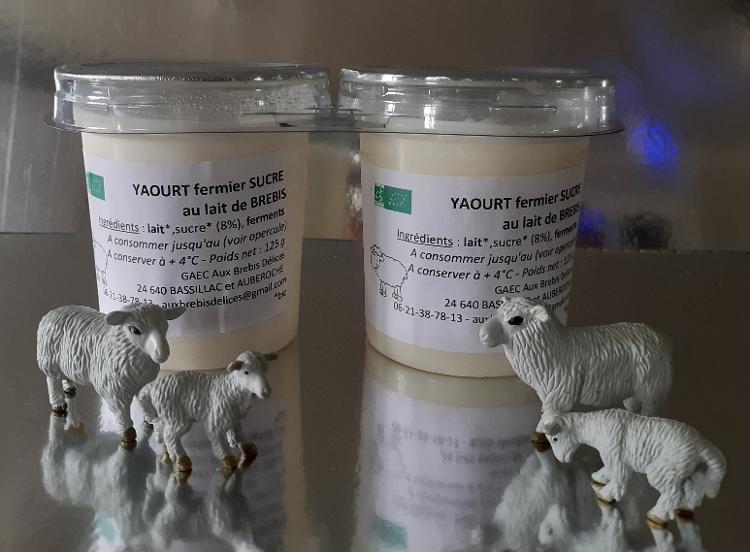 Yaourt nature sucré au lait entier de brebis - 2 pots de 125 g