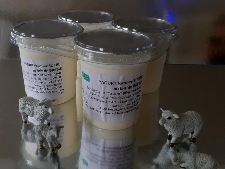 Yaourt sucré au lait entier de brebis - 4 pots de 125 g