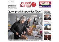 La une de Ouest France avec nos bûches - 02/12/2021