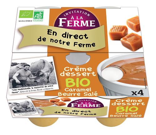 pack 2  crème dessert  caramel beurre salé bio  2 X 100g