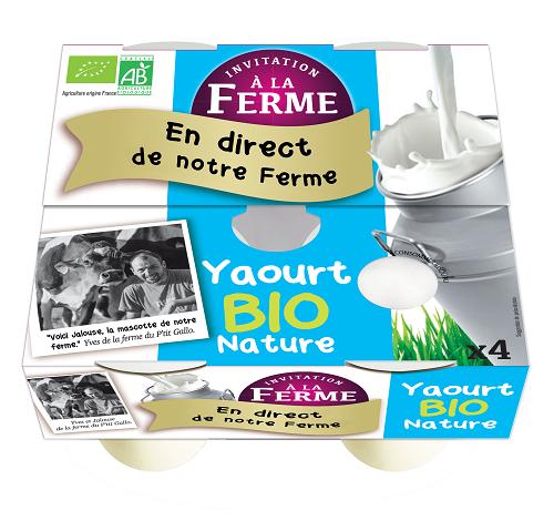 pack 4 yaourts nature bio 4 X 125g