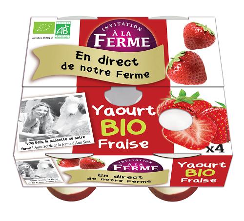 pack de 4 yaourts fraise bio 4 X 125g