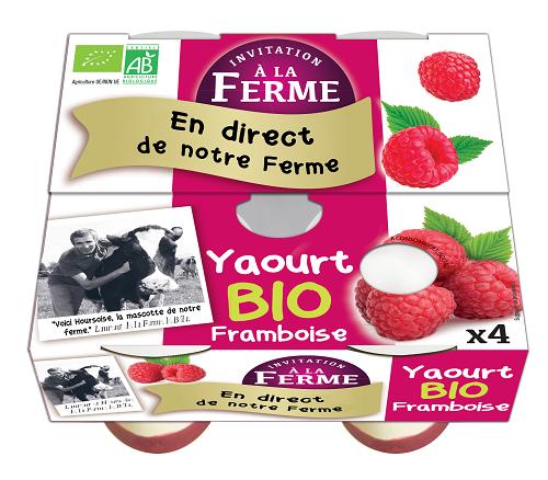 pack 4 yaourts framboise  bio 4 X 125g