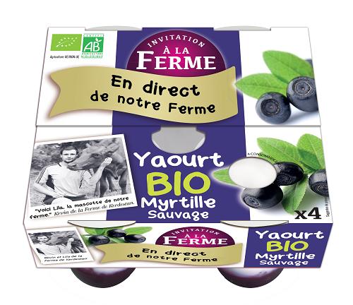pack de 4 yaourts myrtille bio 4 X 125g
