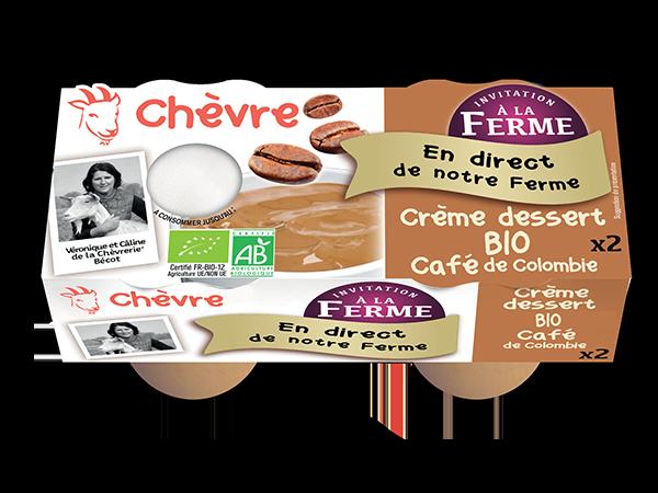 Crème dessert au lait de chèvre bio au café de Colombie 2*100g