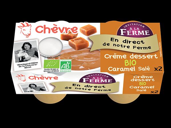 Crème dessert au lait de chèvre bio au caramelsalé 2*100g