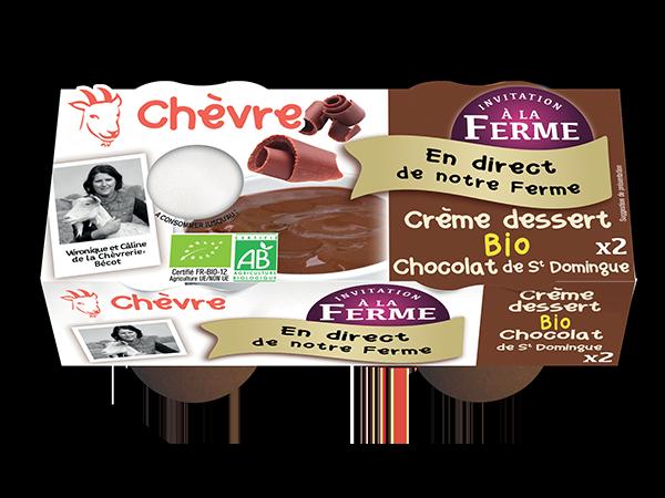 Crème dessert au lait de chèvre bio au chocolat de St Domingue 2*100g