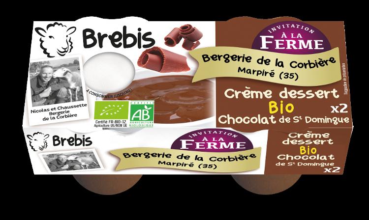 Crème dessert au chocolat au lait de Brebis 2x100g