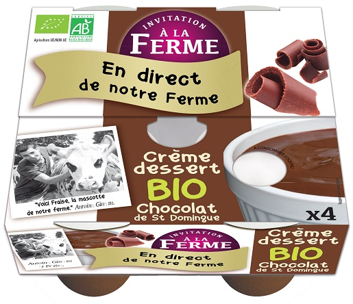 pack 2  crème dessert  chocolat bio 2 X 100g