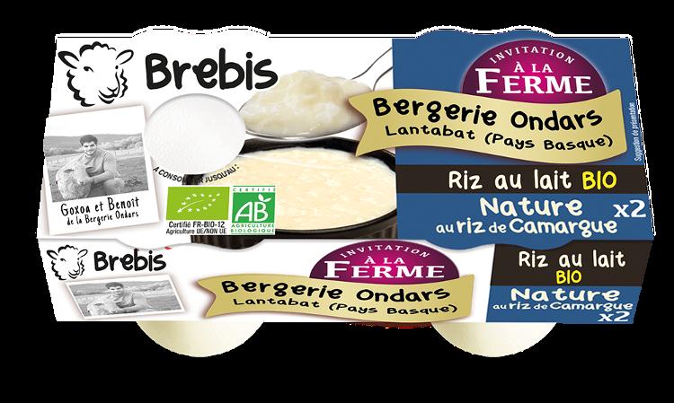 Riz au lait nature au lait de Brebis 2x125g