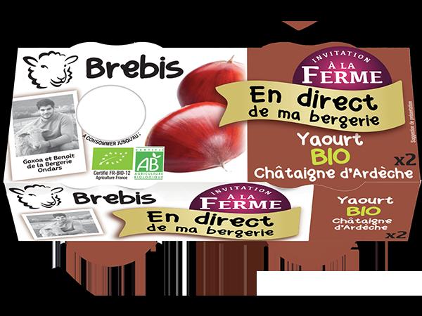 Yaourt au lait de Brebis Bio à la châtaigne d'Ardèche 2*125g