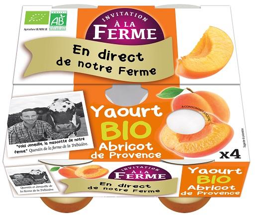 pack de 4 yaourts abricots bio 4 X 125g