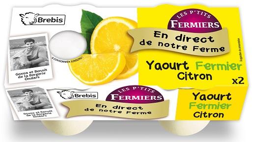 Yaourt citron fermier au lait de Brebis 2x125g