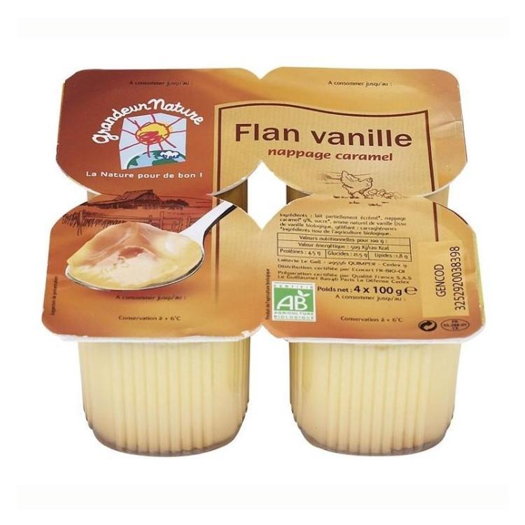 Flan Vanille nappage caramel Grandeur nature 4x100g