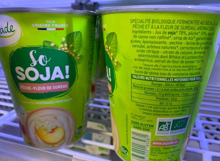 Dessert au soja Pêche-Fleur de sureau So Soja Sojade 400g