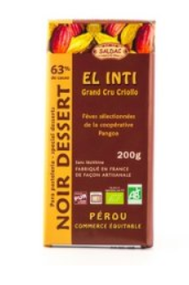 Chocolat Noir Dessert El Inti  Commerce Equitable Pérou 200g