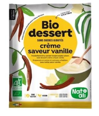 Bio Dessert Crème Saveur Vanille  (préparation en poudre pour crème dessert) 35g Dose pour1/2 à 1 l de lait Nat Ali