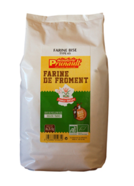 Farine T65 Froment 2,5kg Minoterie Pruneault (France)