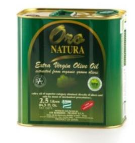 Huile d'Olives Vierge 2.5L Oro Natura (boîte métal)
