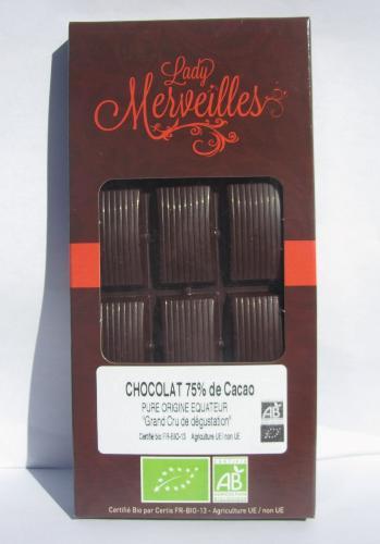 Chocolat Noir 100% Pure Origine Equateur 70g Grand Cru de dégustation