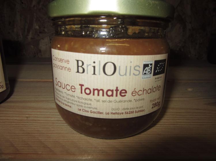 Sauce Tomate Echalote  Conserve Paysanne Brilouis 280g Pot en Verre