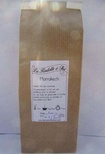 Thé Vert Marrakech (thé gunpowder et menthe poivrée) 100g , tasse claire et arôme végétal)