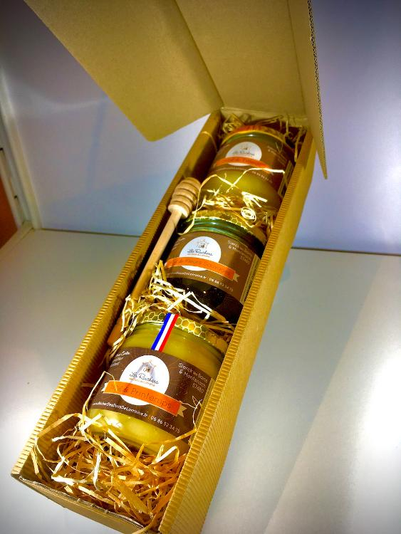 COFFRET CADEAU (3 Miels + Cuillère bois)