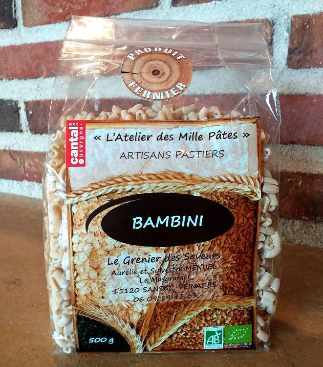 BAMBINI - Pâtes Paysannes Natures à la Farine de Blé Dur Type 65 - 500 G