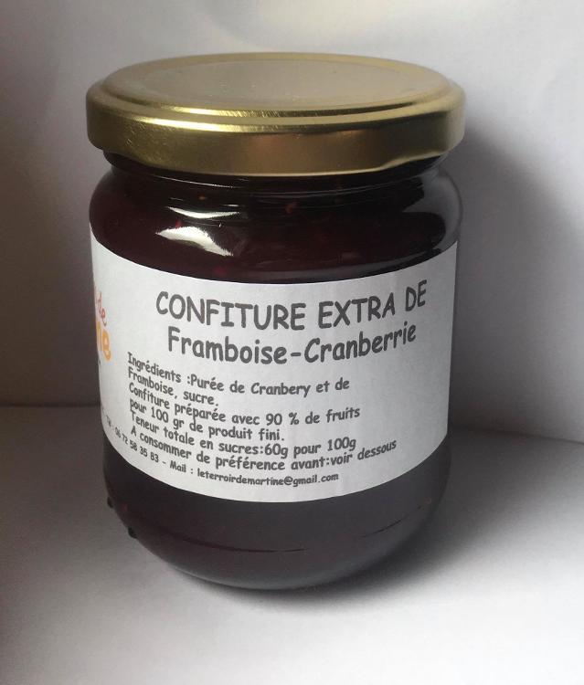 Confiture extra framboise cranberry 220g