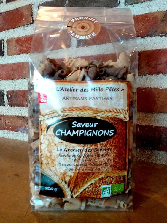 Saveur CHAMPIGNONS - Pâtes Paysannes Bicolores : Natures et aux Champignons - 500 G