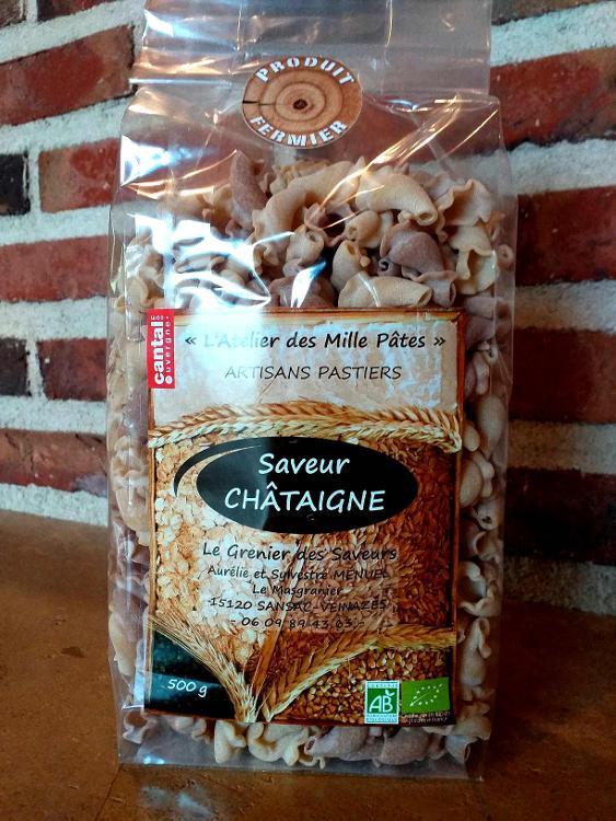 Saveur CHÂTAIGNE - Pâtes Paysannes Bicolores : Natures et à la Châtaigne - 500 G