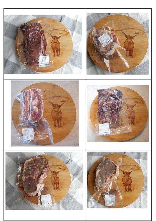 Colis de viande de veau fermier Salers 5kg sous vide composés de blanquettes (1kg environ), côtelettes (par 2), escalopes (par 2), rôti (1kg environ), osso bucco, tendrons. Colis disponibles à la livraison le 4 février.