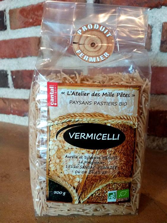 VERMICELLI - Pâtes Paysannes Natures à la Farine de Blé Dur Type 65 - 500 G