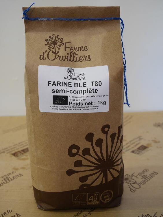 Farine  de blé semi-complète T80 1kg