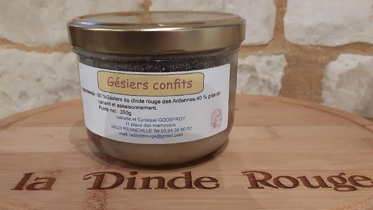 Gésiers confits de dinde rouge des Ardennes