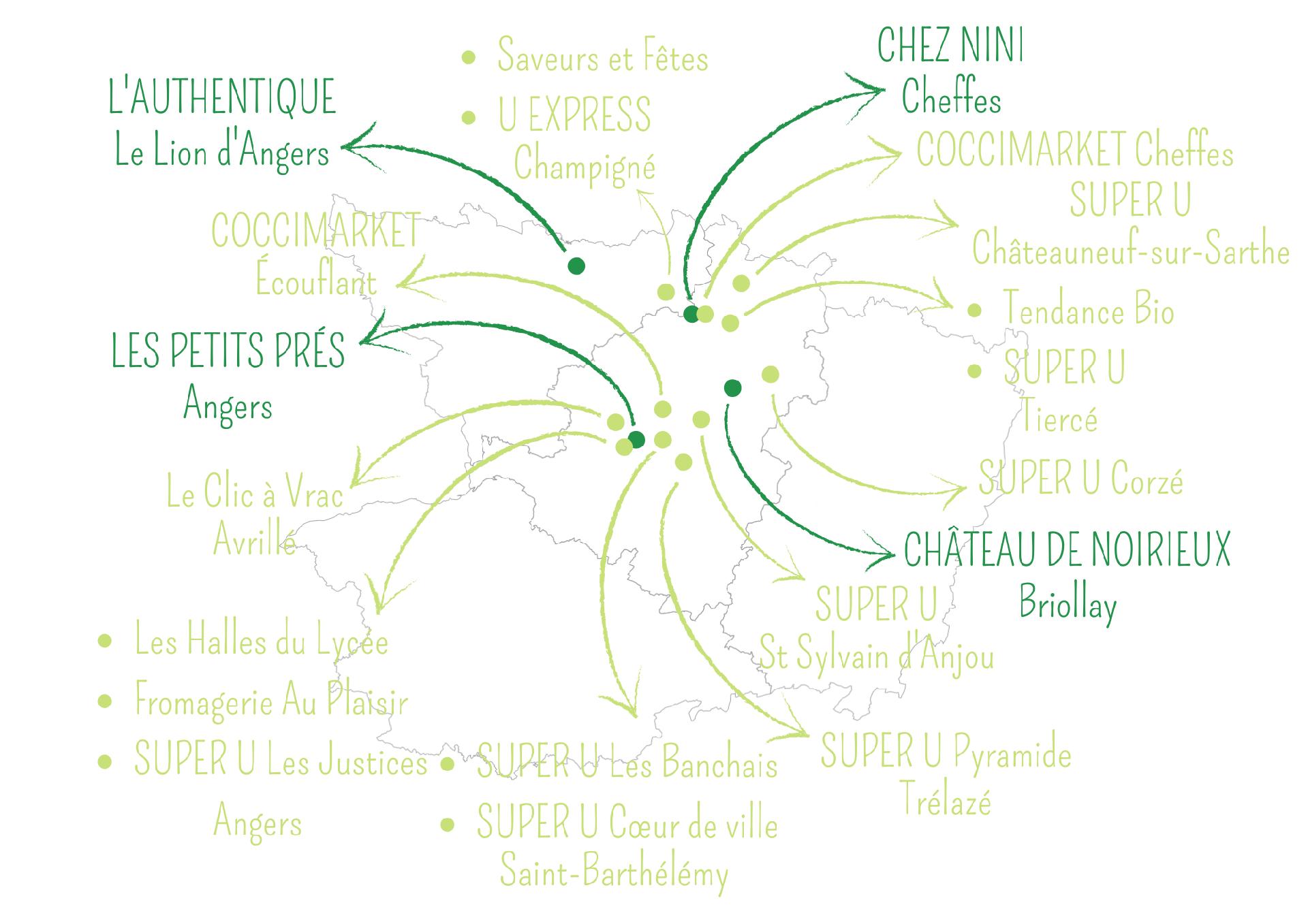Carte Maine et Loire Magasins et restaurants Ferme Anjou Biquettes