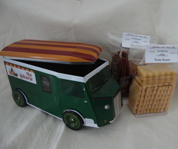 Boîte Métal Citroen Garnie De 200g De Biscuits