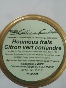 Houmous frais Citron vert Coriandre