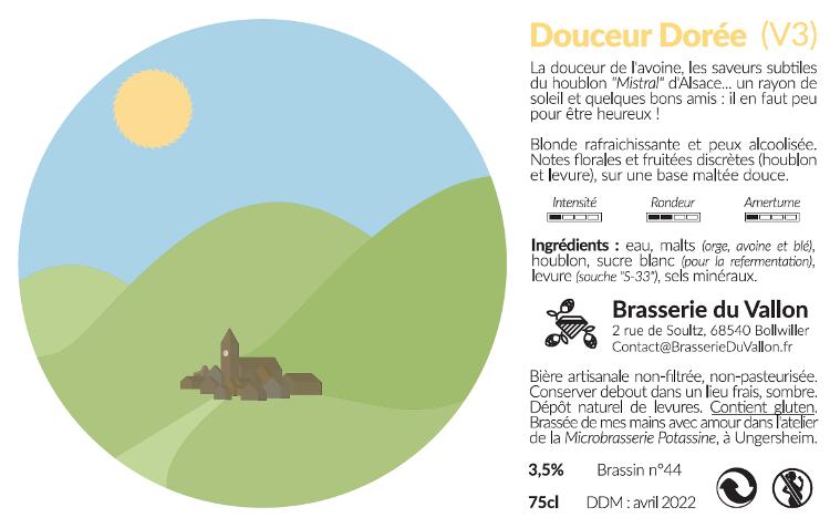 Bière blonde douceur dorée 33cl 3.5 %alc