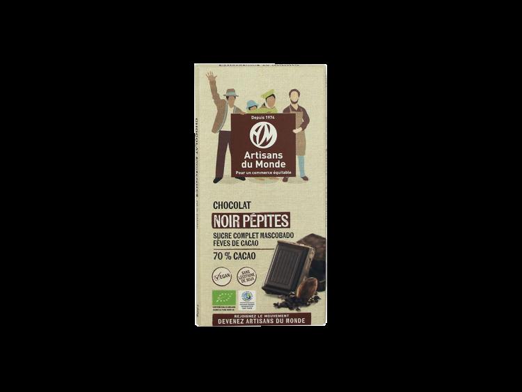 Tablette de chocolat noir avec pépites Bio
