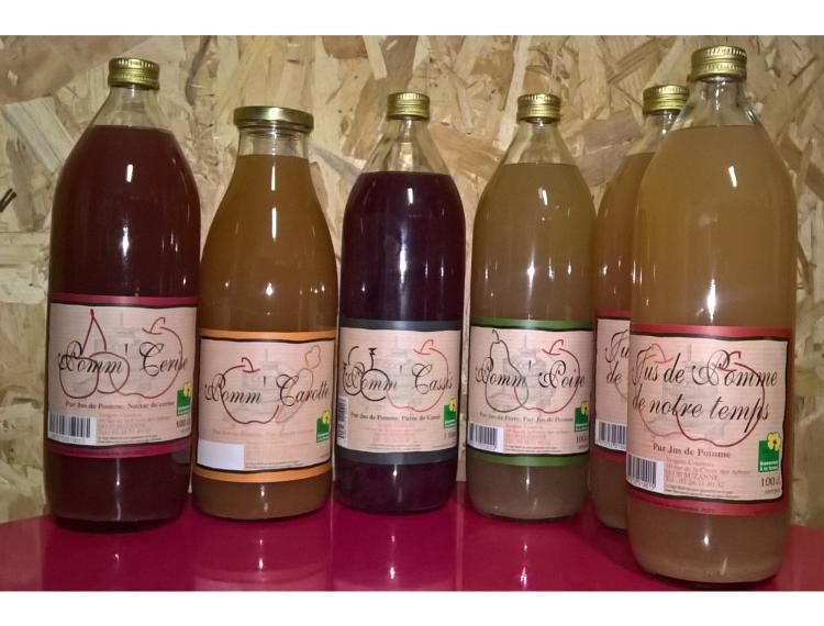 6 jus variés : 2 jus de POMME + 1 POMM'POIRE + 1 nectar de CERISE + 1 POMM'CERISE + 1 POMME de NOEL