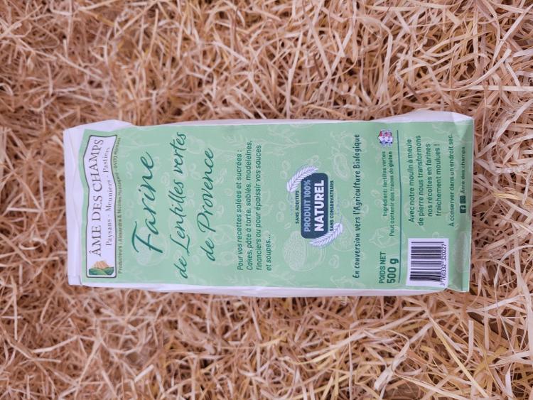 Farine de lentilles vertes de Provence moulue à Monteux
