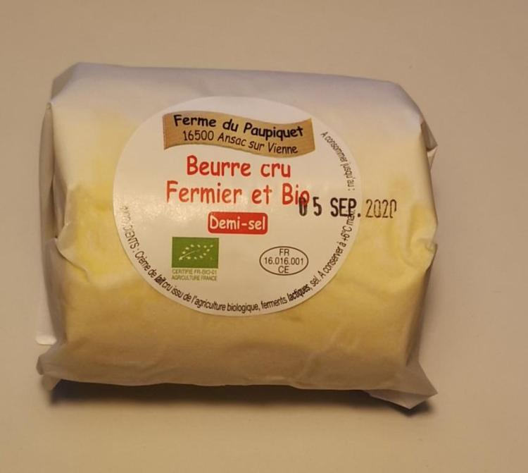 Beurre Fermier Bio Demi-sel 250g