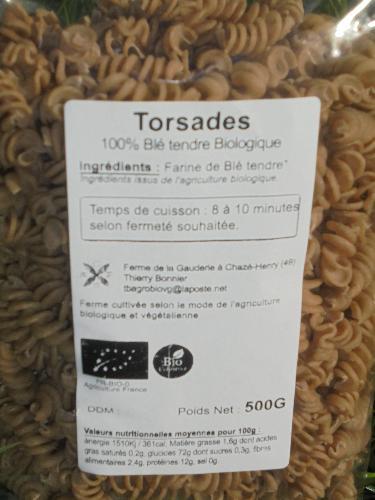torsades/macaroni 100% blé biologique 0.5 kg