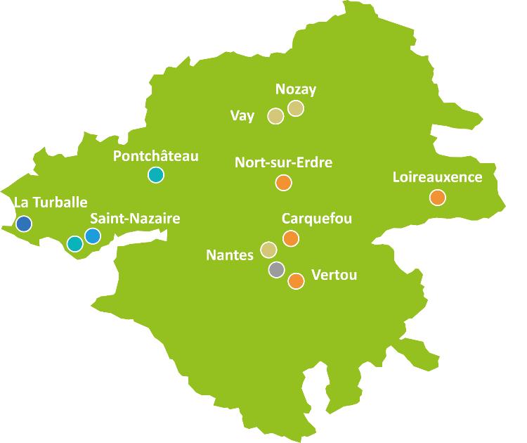 Carte des établissements de l'association ¼uvres de Pen-Bron