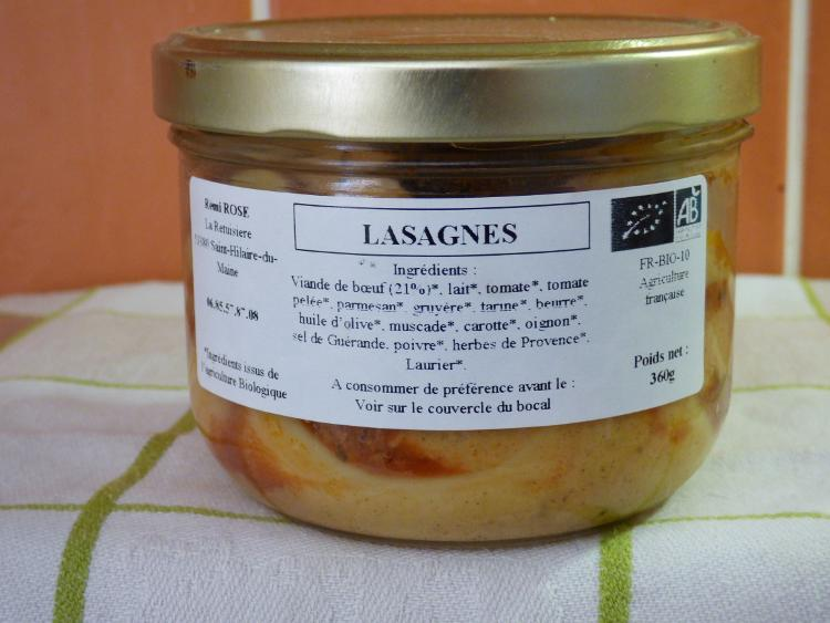 recette traditionnelle de lasagnes bocal stérilisé pour 1.5 parts