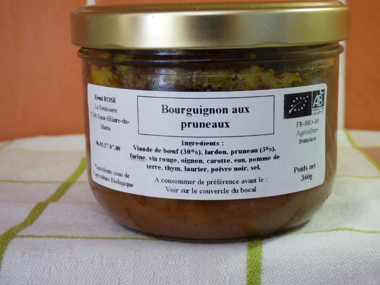 boeuf bourguignon et ses légumes bocal stérilisé  pour 1.5 parts