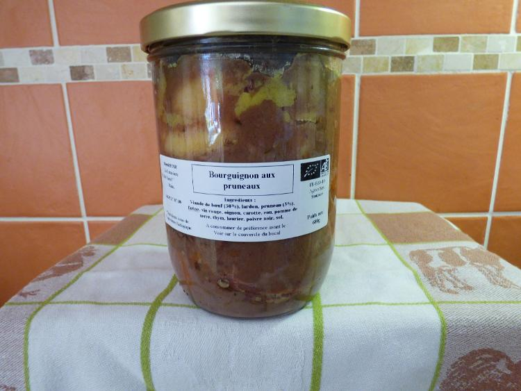 boeuf bourguignon et ses légumes bocal stérilisé  pour 3 parts